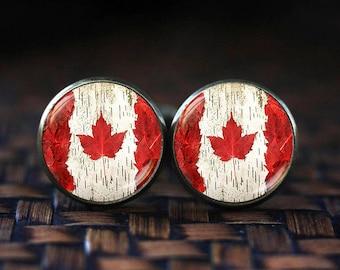 Canada Flag cufflinks, Toronto Ottawa Canada cufflinks, Flag cufflinks, Canada Maple Leaf Flag cufflinks, Canada Patriotic gift