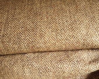 Harris Tweed Cloth Pure Wool fabric caramel herringbone