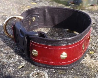 Wide dog collar red black