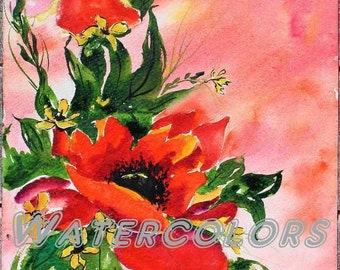 The Power of Red, iceland poppy watercolor, icelandic poppy, red poppy painting, Papaver nudicaule, Grandmother Moon, Leahs Watercolors
