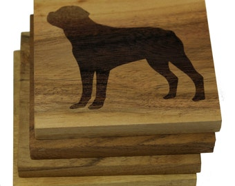 Rottweiler Coasters - Set of 4 Engraved Acacia Wood Coasters