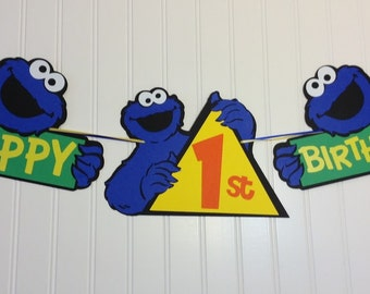 Cookie Monster Inspired Birthday Banner - Jumbo pieces