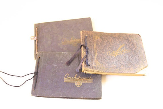 Set of 3 1940's Autograph Books - Vintage Books - Altered Art - Mixed Media - Assemblage - Scrapbooking