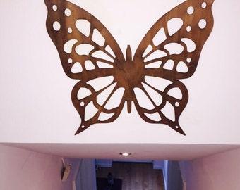 Wooden Wall Sculpture - Butterfly 500mm x 463mm Free UK Shipping