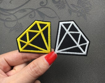 diamond patch yellow and white patch Embroidered Patch Applique Embroidery Iron On Patch Sew On Patch
