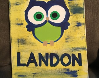 Seattle Seahawks Owl and Name Canvas Painting