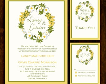 Yellow Daisy: Wedding Invitation Suite; Print at Home Wedding Invitations