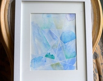 Abstract Blue and Green Geometric Watercolor