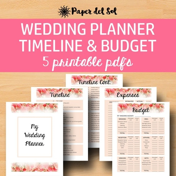 Wedding Planner Printable for Wedding Binder by PaperdelSol