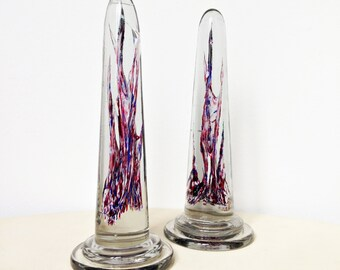 Pair of Mid Century Murano Glass Obelisks - Reference Venini