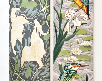 Mid Century Hand Painted Wood Panels with Kingfisher