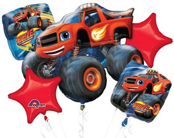 Blaze and the Monster Machines New 5 Piece Balloon Bouquet Party Decoration Set
