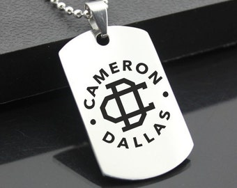 Cameron Dallas Stainless Steel Dog Tag Military Nash Grier Mendes Pendant Style Jewellery