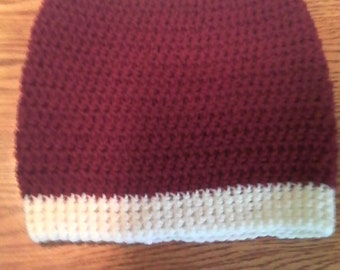 Scarlet and cream hat