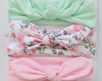 Set Of 3 Top Knot Head wrap, newborn baby infant headband, baby headband, newborn photo prop, toddler headband, knotted headwrap