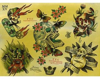 Tattoo Flash SKULLS Julien BRUNIER