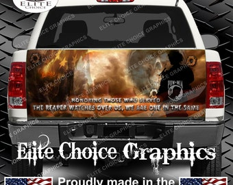 Military Honor Vets Flag Reaper Truck Tailgate Wrap Vinyl Graphic Decal Sticker Wrap