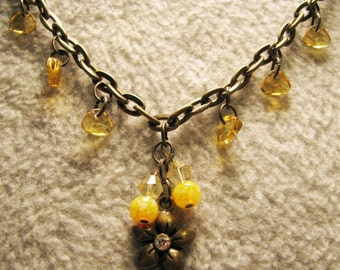 Bronze and Yellow Flower necklace with Earrings