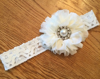 Ivory Lace Flower Girl or Baby Headband