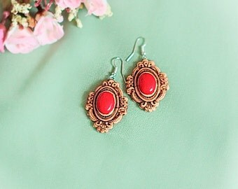 Small wooden earrings Wood jewelry Natural birch bark carving Retro Vintage style with coral free shipping