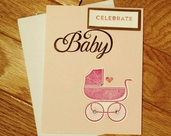 Baby shower card, baby girl card, pink baby card, new baby card, new baby gift, stampin up card, homemade card, baby shower gift, baby girl