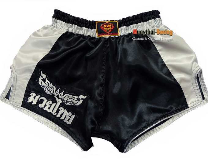 Muay Thailand Boxing Shorts Low-Waist Fit Retro Style - BLACK