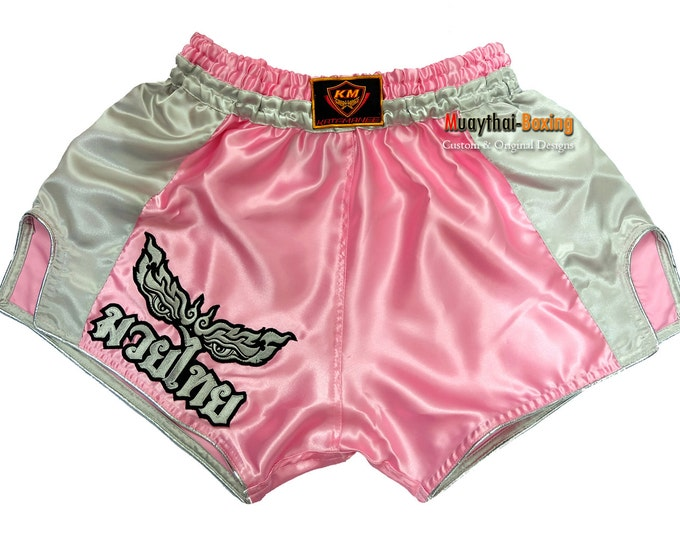 Muay Thailand Boxing Shorts Low-Waist Fit Retro Style - LIGHT PINK