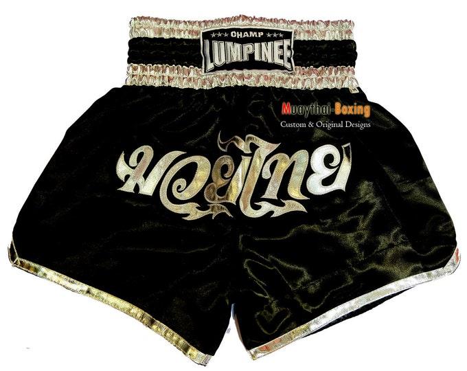 Champ Lumpinee Muay Thai Boxing Shorts Martial Arts - Black/Silver