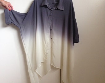 Evil Twin Oversized Grey/White Ombre Sheer Button Up Shirt - Size S