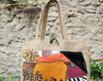 Burlap bag of recycled coffee way patchwork Tote