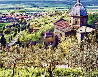 Tuscan Landscape, Cortona Chapel, Under The Tuscan Sun, Tuscan Wall Decor, Chapel Print Cortona, Fine Art Photo