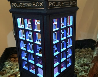Dr Who tardis inspired lamp, tardis lamp, Dr who lamp, accent lamp, table lamp