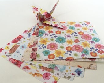 Origami Paper Sheets - Flower Design Pattern Chiyogami Paper - 60 sheets