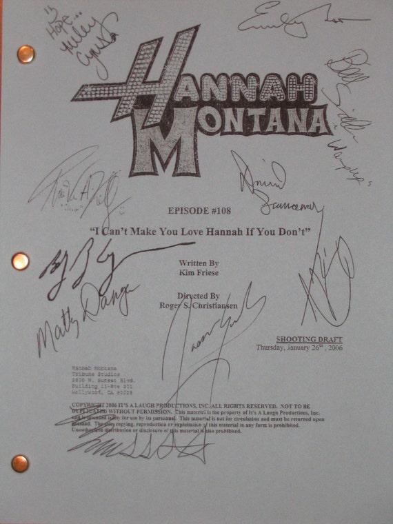Hannah Montana Signed Script Screenplay X10 Miley Cyrus Emily Osment Billy Ray Cyrus Jason Earles Mitchel Musso Daniel Samonas autograph