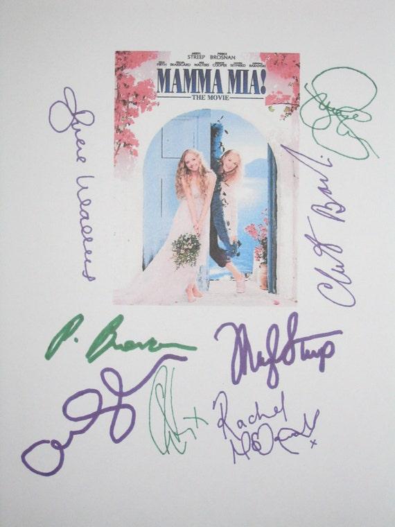 Signed Mamma Mia Film Movie Script Screenplay Autograph Amanda Seyfried Meryl Streep Pierce Brosnan Colin Firth Stellan Skarsgård McDowall