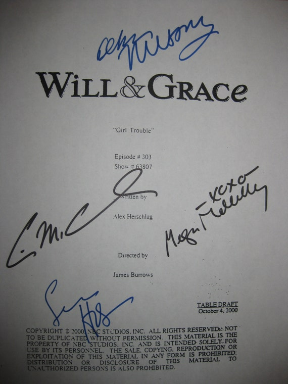 Will and & Grace Signed TV Screenplay Script Girl Trouble Debra Messing Eric McCormack Sean Hayes Megan Mullally autographs signatures