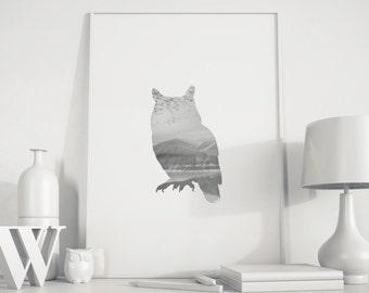 Owl decor, Owl wall art, Owl poster, Gray Owl print, animal silhouette, gray Animal print, Owl printable, photoart, black nursery decor