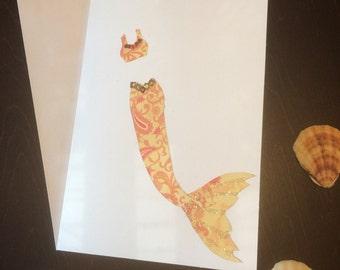 One handmade mermaid card exotic red