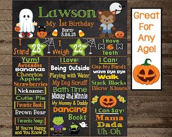 Halloween first birthday chalkboard, halloween theme first birthday, second, third, costume birthday, pumpkin chalkboard, boy first birthday