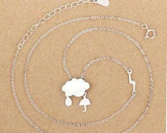 Sterling minimalist rain cloud necklace