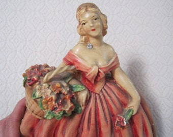 Chalkware Southern Belle, Universal Art Co. #838R, Vintage