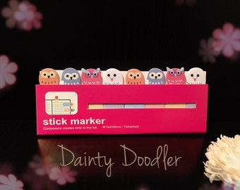 Cute Owls Sticky Markers • Planner Tabs • Slim Sticky Notes • Page Markers • Back to School • Office Supplies • Gift • Planner Addict