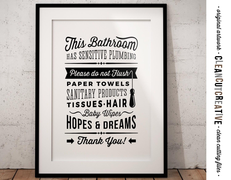 Bathroom sign sensitive plumbing no septic system do not - Bathroom signs for septic systems ...