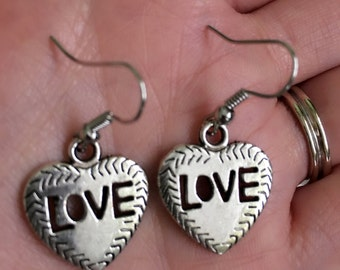 Heart With Love shapes Sterling Silver Earrings