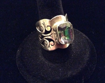 Organic Design Sterling Silver Mystic Topaz Ring Size 8.25