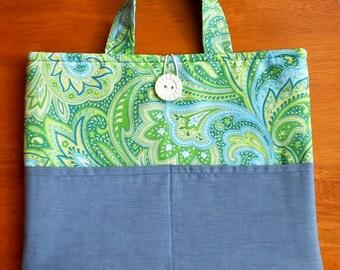 Padded With Pockets iPad Case, iPad Cover, iPad Sleeve, iPad Holder Tote Denim Blue & Green
