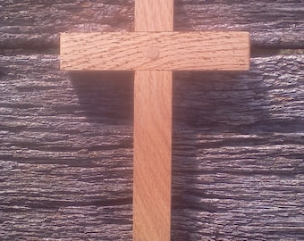 Handcrafted wooden cross made from oak.
