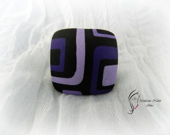 Purple retro ring / Square ring / Polymer clay ring