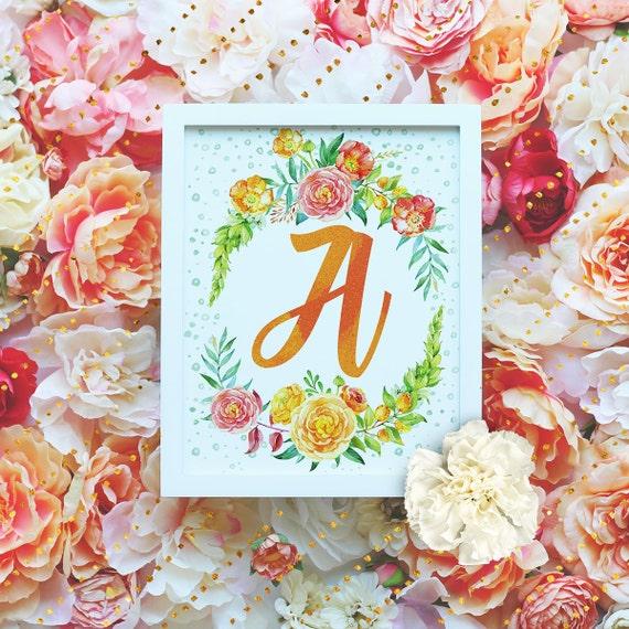 "Monogram Letter ""A"" Printable Wall Art - 8x10"" - ""A"" Name Art Print- Wreath Initial - Floral Monogram - Nursery Monogram- Baby Name Sign"