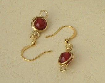 Red Agate Gemstone Crystal Bead Handmade Gold Wire Wrap Earrings